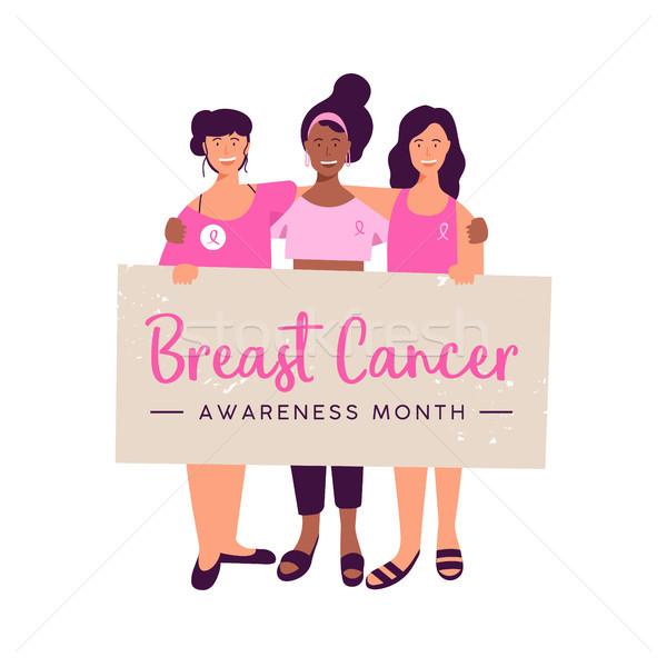 Сток-фото: Рак · молочной · железы · осведомленность · месяц · женщины · друга · группа
