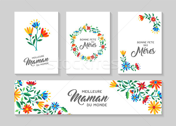 Happy Mother day french floral card and label set Stock photo © cienpies