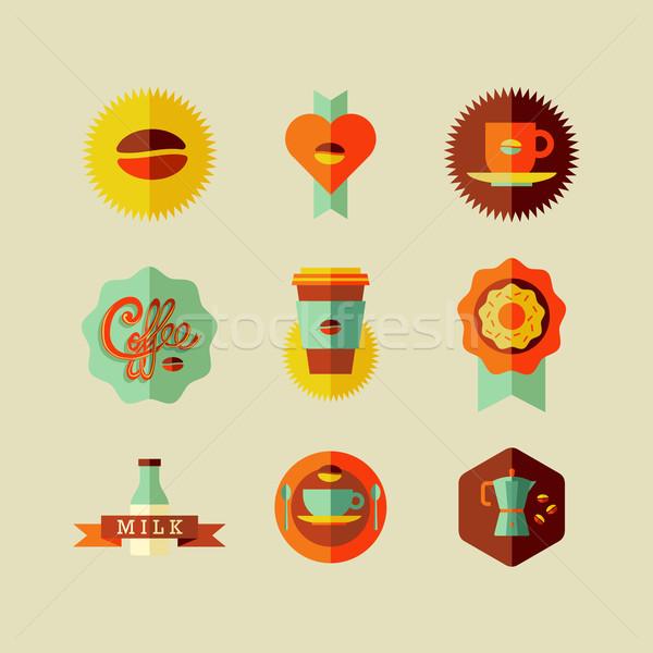 Stockfoto: Coffeeshop · iconen · kleurrijk · beige · ingesteld · vector