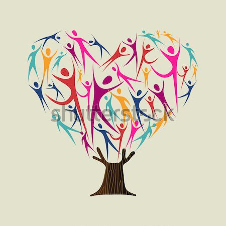 Diversity human tree set Stock photo © cienpies