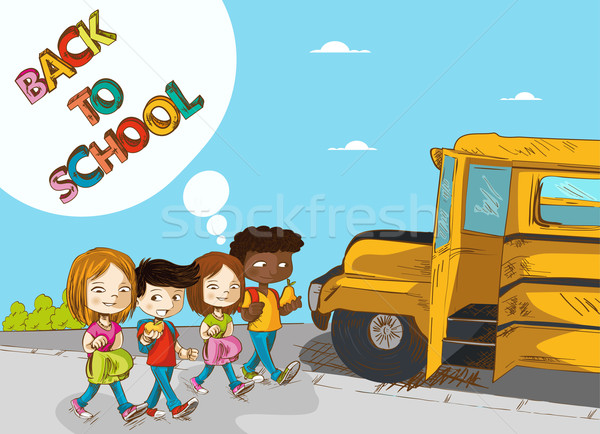 Back to school education kids walking to school bus. Stock photo © cienpies