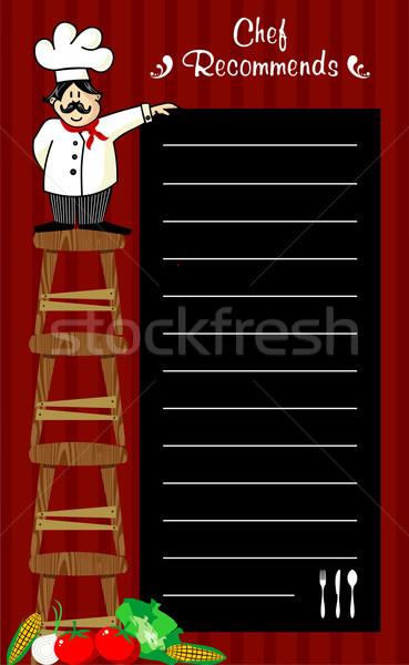 Chef engraçado vários lousa Foto stock © cienpies