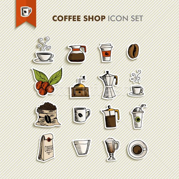 コーヒーショップ 実例 手描き デザイン メニュー ストックフォト © cienpies
