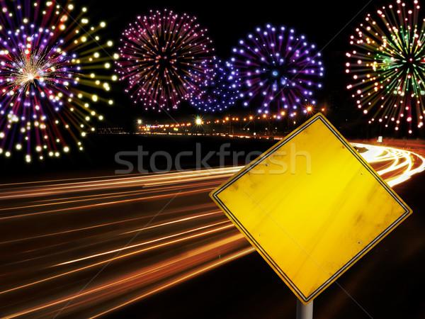 Gelukkig nieuwjaar vuurwerk stad auto snelweg lichten Stockfoto © cienpies
