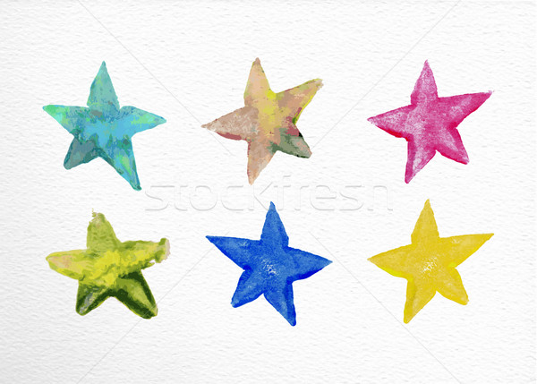 Watercolor stars set hand drawn illustration Stock photo © cienpies
