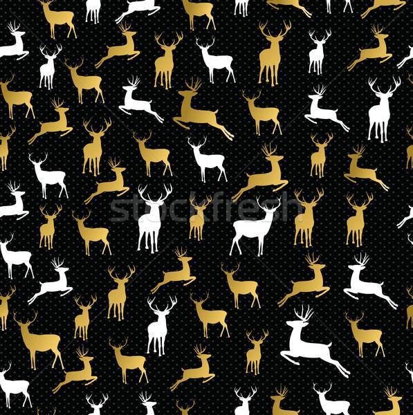 Merry christmas gold reindeer seamless pattern Stock photo © cienpies