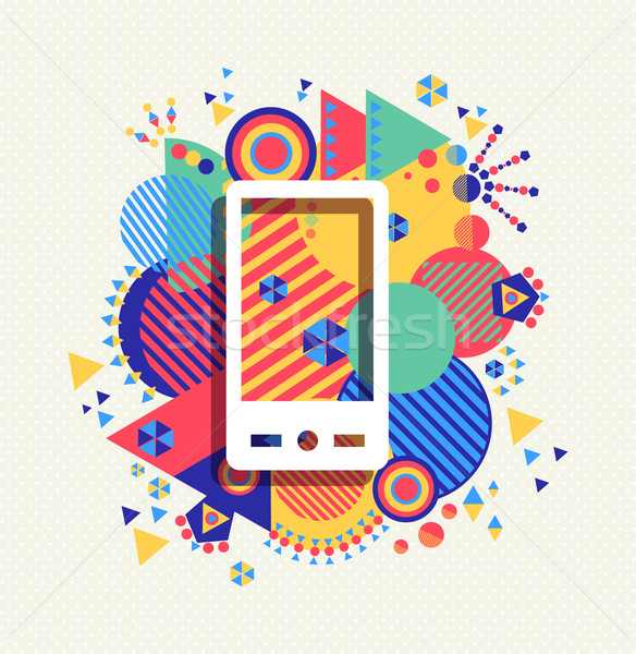 Stock photo: Mobile phone icon color vibrant shape background
