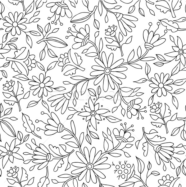 Flower background in black and white for coloring Stock photo © cienpies