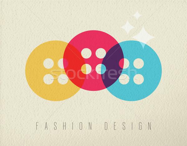 Fashion design sewing button concept color design Stock photo © cienpies