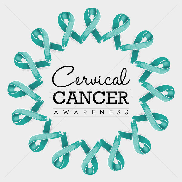 Cervical cancer awareness ribbon design with text Stock photo © cienpies