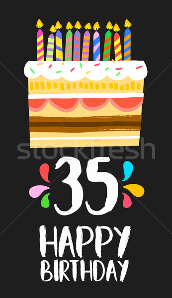 Happy Birthday card 35 thirty five year cake Stock photo © cienpies