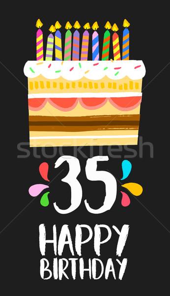 Feliz aniversário cartão trinta cinco ano bolo Foto stock © cienpies