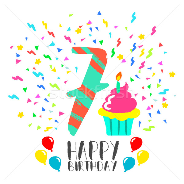 Happy Birthday card for 7 year kid fun party art Stock photo © cienpies