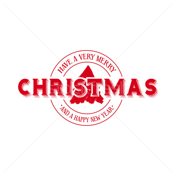 Merry Christmas emblem calligraphy illustration Stock photo © cienpies