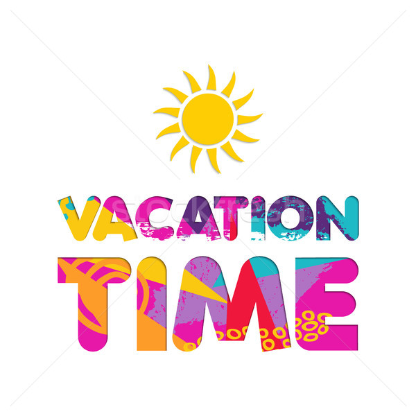 Summer vacation color cutout text quote Stock photo © cienpies