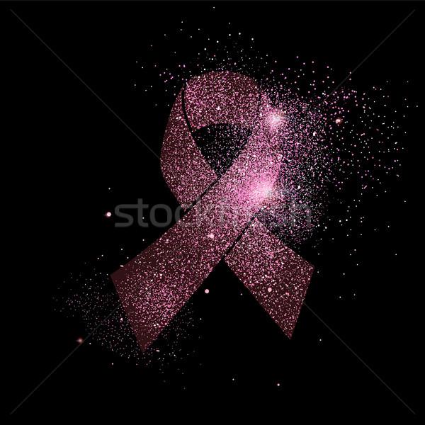 Foto stock: Rosa · câncer · de · mama · fita · brilho · símbolo · ilustração