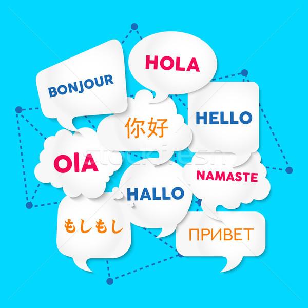 Hello chat buborék fordítás külföldi nyelvek chat Stock fotó © cienpies