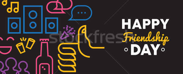 Friendship day web banner of social party icons Stock photo © cienpies