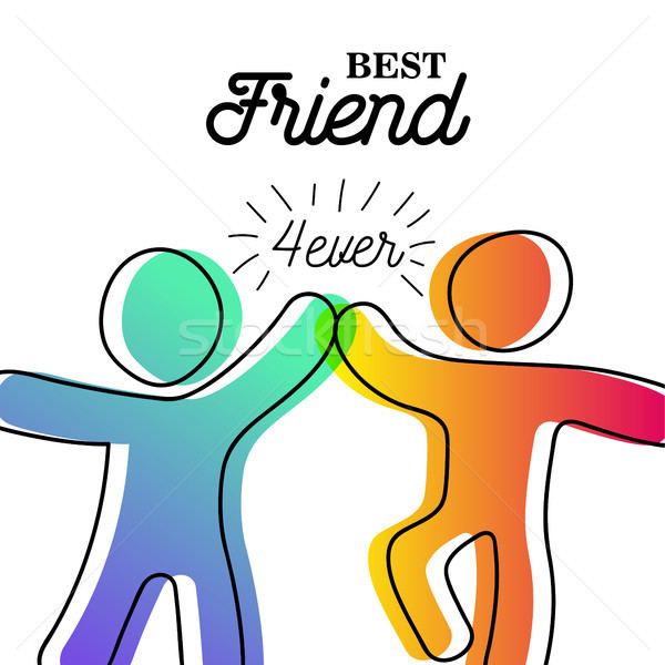 Happy friendship day card of friend high five Stock photo © cienpies