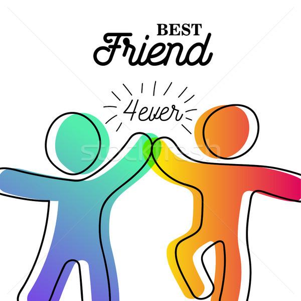 幸せ 友情 日 カード 友達 ハイタッチ ストックフォト © cienpies
