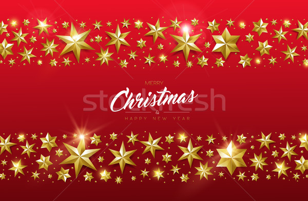 Christmas and new year card of gold star design Stock photo © cienpies