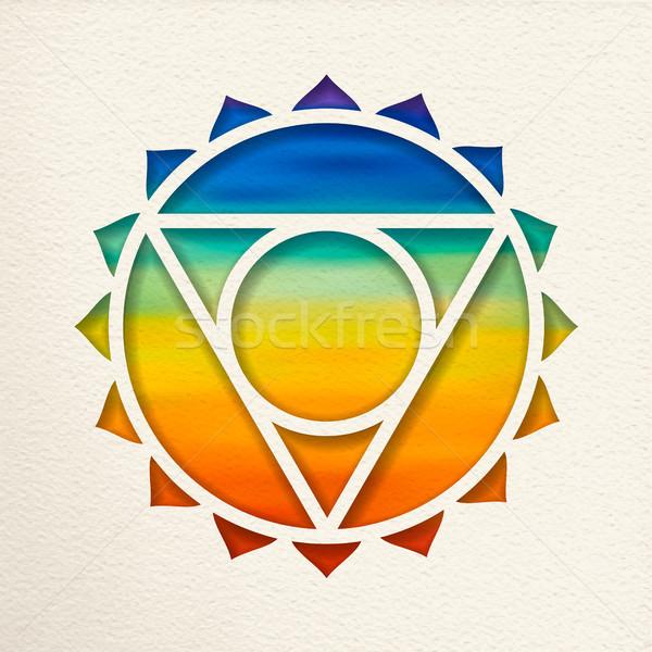 горло чакра дизайна йога иллюстрация бумаги Сток-фото © cienpies