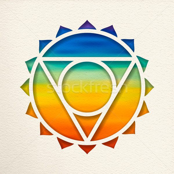 Keel chakra ontwerp yoga illustratie papier Stockfoto © cienpies