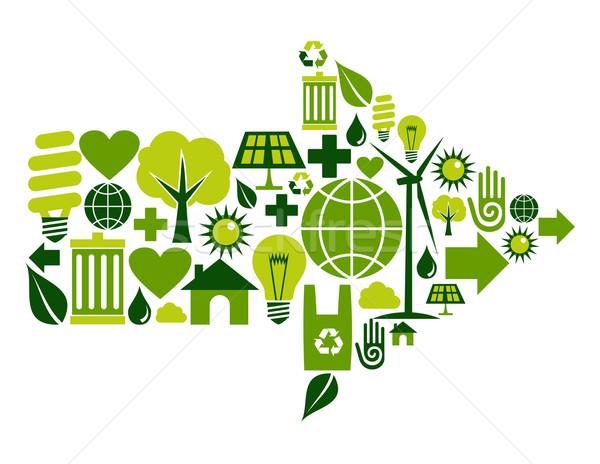 Photo stock: Vert · flèche · symbole · icônes · environnement