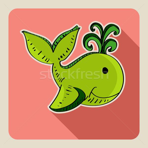 рисованной зеленый кит эскиз стиль иллюстрация Сток-фото © cienpies