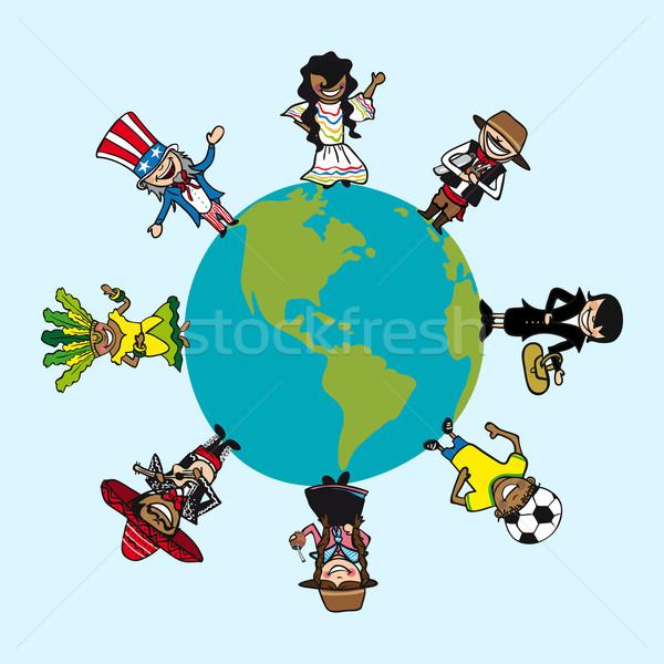 Diversity people cartoons over world map Stock photo © cienpies