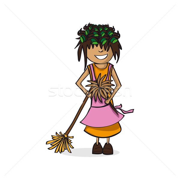 Profession housewife woman cartoon figure. Stock photo © cienpies