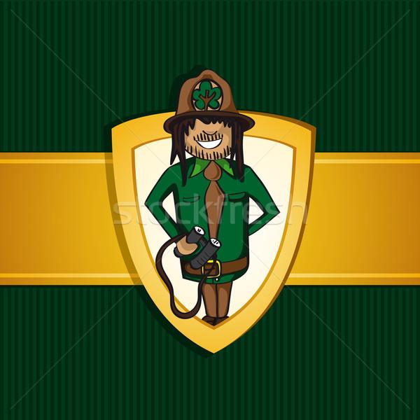 Service park ranger man cartoon shield symbol. Stock photo © cienpies