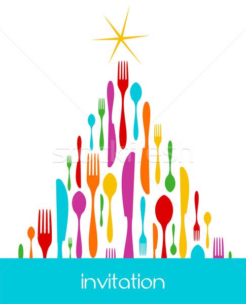 Christmas Tree Cutlery Pattern Stock photo © cienpies