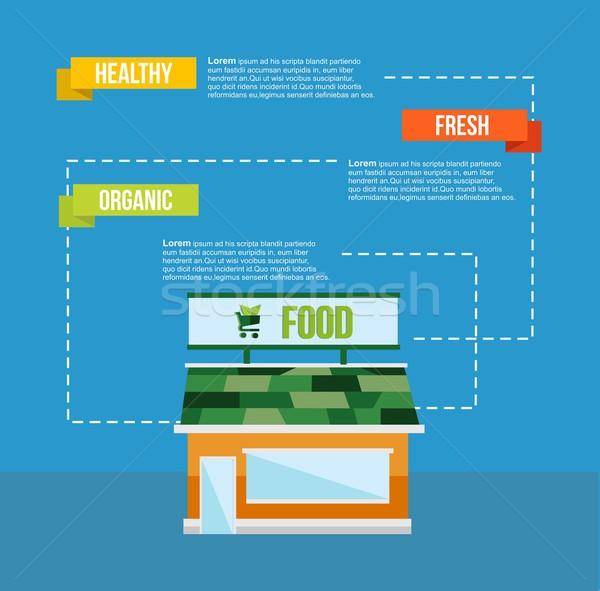 Organic food concept infograhics template Stock photo © cienpies