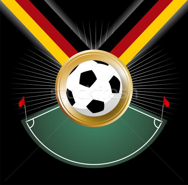 şampiyonluk madalya köşe futbol topu kadar şerit Stok fotoğraf © cienpies