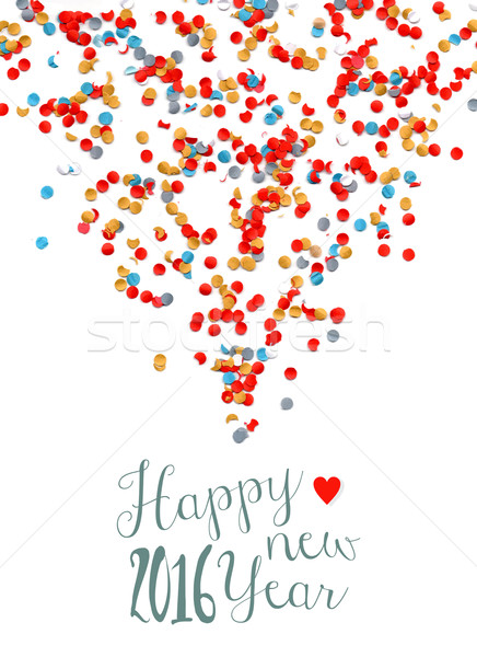 Happy new year 2016 confetti party holiday poster Stock photo © cienpies