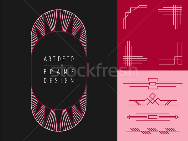 Art deco geometry frame set mono line elements Stock photo © cienpies