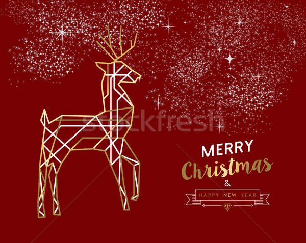 Merry christmas new year deer gold outline deco Stock photo © cienpies