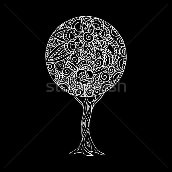 дерево мандала искусства иллюстрация черно белые дизайна Сток-фото © cienpies