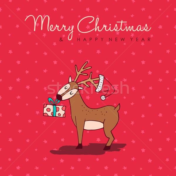 Noël nouvelle année cute dessinés à la main cerfs carte Photo stock © cienpies