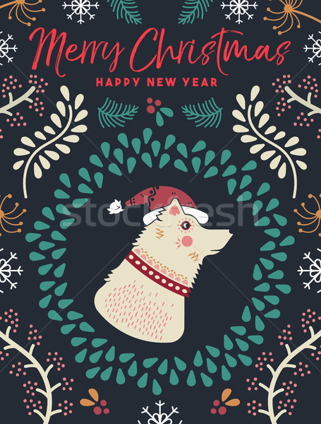 Natal ano novo inverno cão cartão alegre Foto stock © cienpies