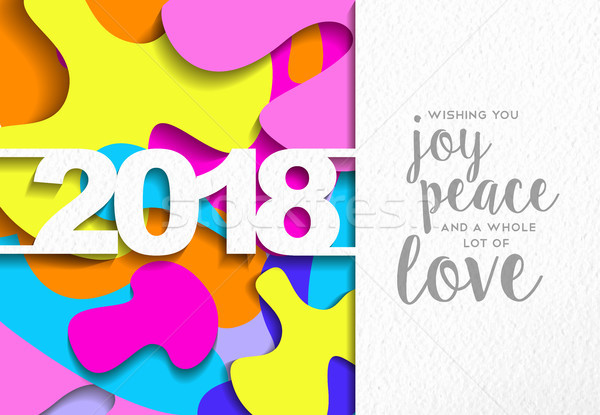 Happy New Year 2018 color cutout greeting card  Stock photo © cienpies
