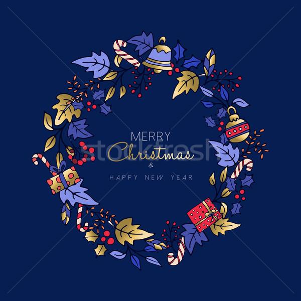 Photo stock: Noël · nouvelle · année · cute · or · icône · couronne
