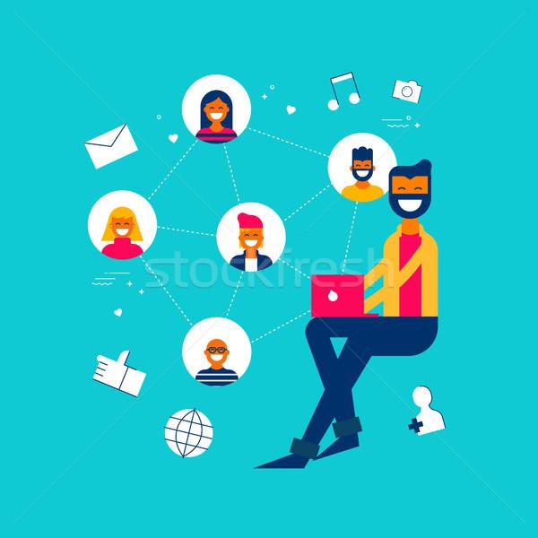 Adam sosyal medya ağ uygulaması Internet etkilemek Stok fotoğraf © cienpies