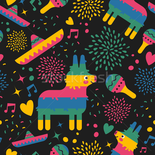 Mexican pattern background of cute mexico art Stock photo © cienpies