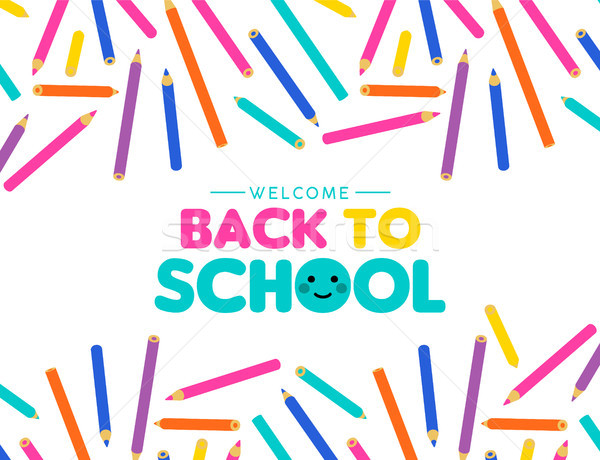 Back to school art color pencil design for kids Stock photo © cienpies