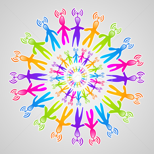 Global social media network mandala Stock photo © cienpies