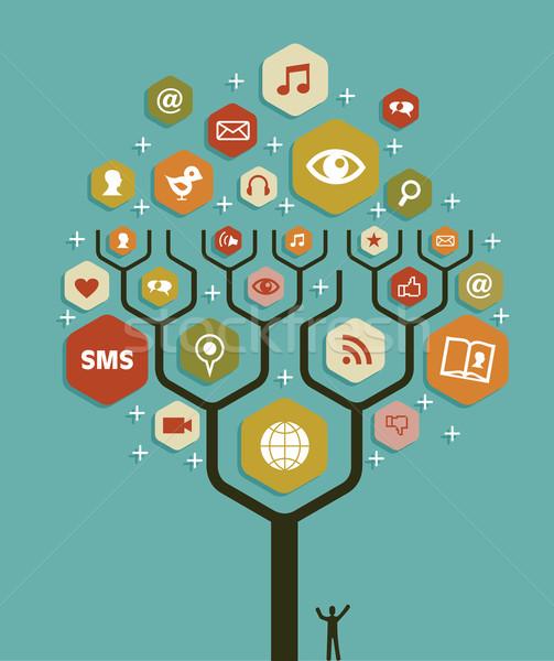 ウェブ マーケティング ビジネス ツリー 計画 社会的ネットワーク ストックフォト © cienpies