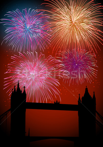 Happy New Year fireworks in England Stock photo © cienpies