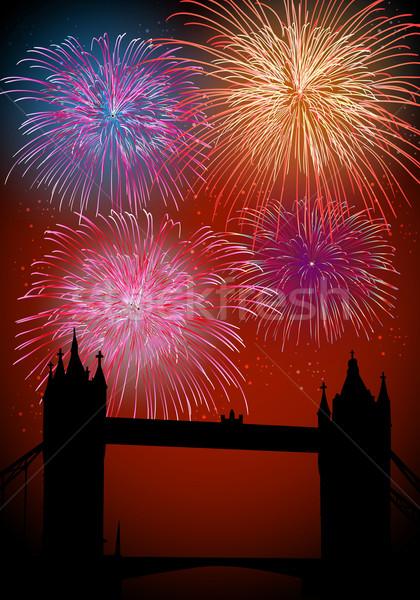 Stockfoto: Gelukkig · nieuwjaar · vuurwerk · Engeland · Londen · stad · theems